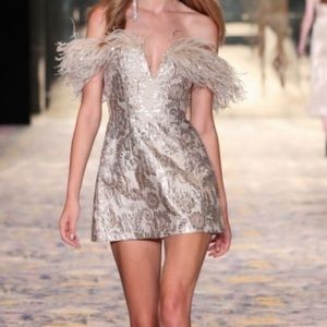 Alice McCall Metallic Feather Cocktail Dress